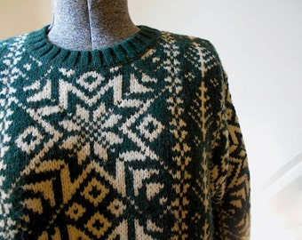 Nordic wool pullover sweater chunky, forest green unisex - Lands End Made in Scotland - women Medium Large