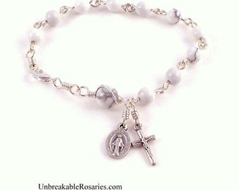 Miraculous Medal Rosary Bracelet White Magnesite w Italian Medals by Unbreakable Rosaries