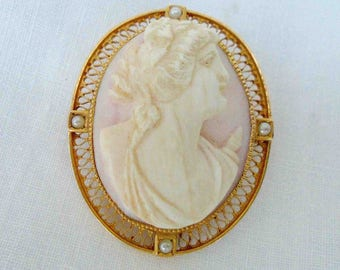 Vintage Mid Century Shell Cameo Pin or Pendant with 10k Gold Filigree Border and Seed Pearl Accent / Classic Cameo Carved Shell