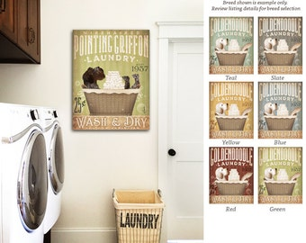 Wirehaired Pointing Griffon dog Laundry Company basket illustration graphic art on canvas by stephen fowler