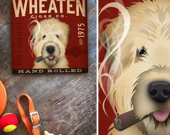 Wheaten Terrier dog cigar company art on gallery wrapped canvas by stephen fowler custom BACKGROUND color