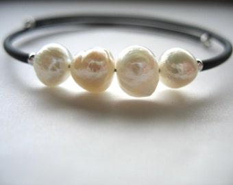 White Pearl, Pearl Bracelet, Handmade Cuff Bracelet, White Pearl Jewelry