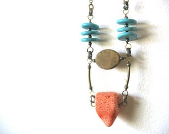 Beaded Necklace, Turquoise Howlite Coral Jasper Jewelry, Tribal Gemstone Statement Necklace, handmade artisan Jasper jewelry, Stone Necklace