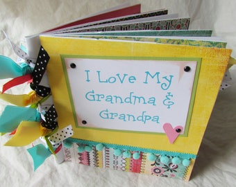 Mini Premade Scrapbook PaPeR BaG 6x6 Album -- I LoVE MY GRANDMA and GRANDPA -- BraG BooK, grandparents, family, boy, girl, grandchildren