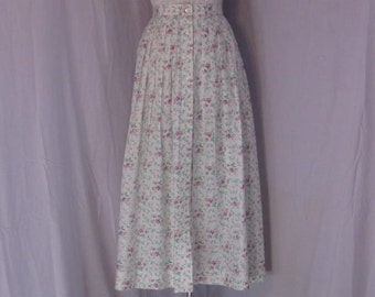 Cotton Floral  Full  Pleated Skirt size 8