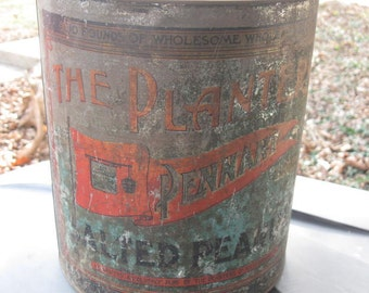 Rustic Planters Peanuts Tin - Large Tin. Rustic Decor, Industrial Decor