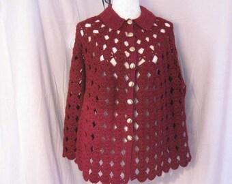 Vintage Crochet Cape, Hippie Cape, Poncho