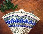 Wallflower... Vintage Boleslawiec Polish Pottery Stoneware Wall Pocket Handmade Handcrafted Bohemian Farmhouse Decor Vase Planter m