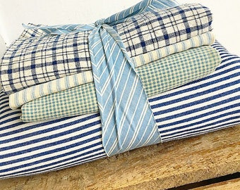 Tick Tick Boom... Collection of Antique Blue and White Checkered Stripe Ticking Stripe Fabric Canvas Yardage Sacks