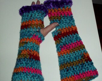 crochet fashion fingerless arm warmers Mix colors purple trim handmade