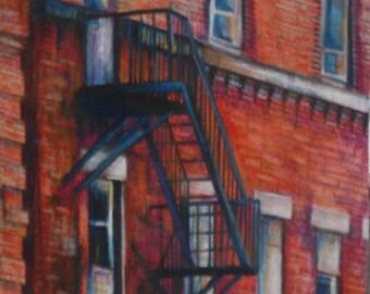 original art  drawing 11x14 matted fire escape unframed