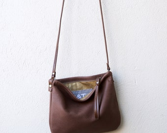 sale - Crossbody Case in lightweight soft brown nubuck leather - crossbody bag - with crossbody strap - small leather bag