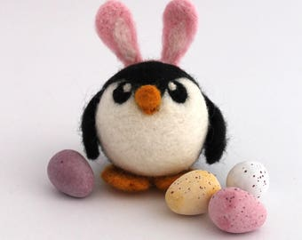 Needle Felted Penguin Intolerable Pengbunny Penguin with Pink Bunny Ears Medium