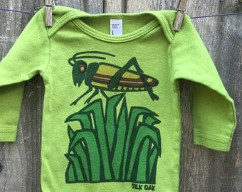 Spring Green Long Sleeve Grasshopper One Piece