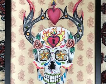 horned sugar skull