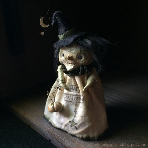 Halloween Wee Witch with Petite Pumpkin Art Doll