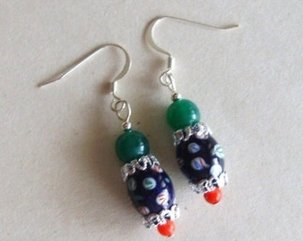ON SALE Vintage Bead Earrings, Rescued Navy Glass, Silver Drop, Red Green, Candy Bright