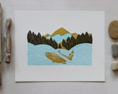 Salmon River Linoleum Cut, Fish Art Print, Block Print, Mountain, Art for Fisherman, Gift for Him, Landscape, Linocut, Fish Conservation