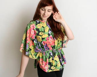 Vintage Floral Blouse - Angel Wing Hawaiian Style Cotton Spring Top Waist Tie Bamboo  Wild Flower Lounge Garden Bouquet - Small Medium Large