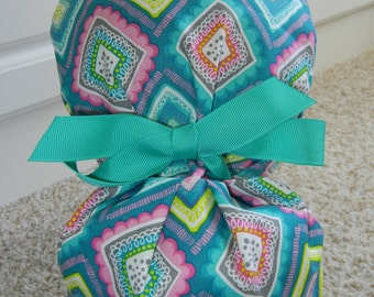 Turn Up Ponytail Scrub Hat with Teal Whimsical Diamonds