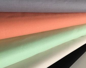 Kona Solid Bundle to match Hello Bear Fabrics, Includes *Medium Gray, Creamsicle, Mint, Ivory, Black*, Bundle of 5, Choose the Cuts