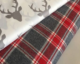 Plaid fabric bundle, Hello Bear fabric, Buck Forest fabric, Grizzly Plaid, Fabric Bundle of 2, Choose The Cuts