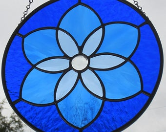 Shades of Blue Stained Glass Six Pointed Star Mandala Suncatcher