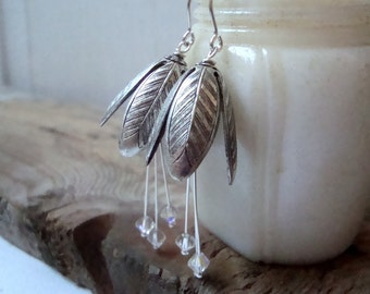 Silver Tulip Flower Earrings With Crystal Bridal Jewelry Flower Jewelry Sterling Silver Vintage Style Weddings Bridesmaid Mothers Day