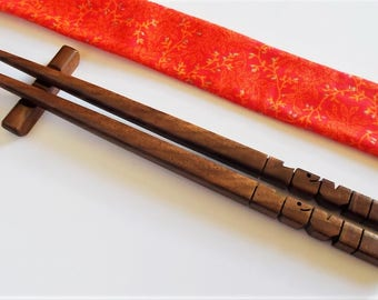 Personalized Chopsticks, Custom Carved to Order in Walnut Wood