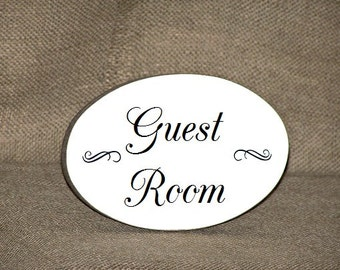 Oval Wall Plaque, Guest Room Hanging Sign, Home Decor Wood Sign, Modern Country Distressed Cottage, Visitor Bedroom Door Phrase, Wall Decor