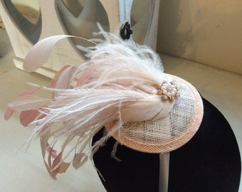 Bridal hair accessories, wedding accessories, oyster, mother of the bride, hat, 2 tone, handmade, pale pink feather fascinator