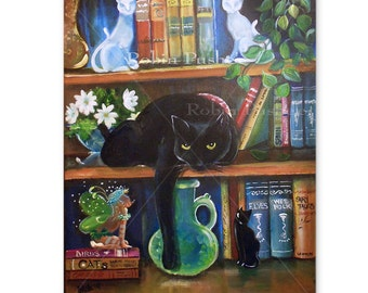 little fairy , and Cats in a book shelf,Original Painting on Canvas, 11x14