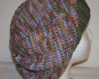 Merino Wool Slouch Hat - Slouchy Knit Beanie - Knitted Hipster Toque - Hand Knit Hat - Deja Vu
