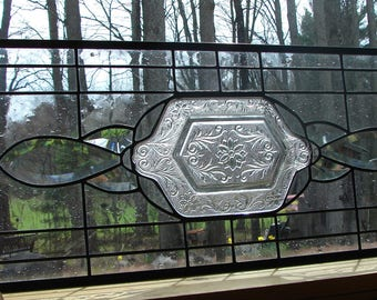 stained glass panel Beveled Sidelight Transom window all clear