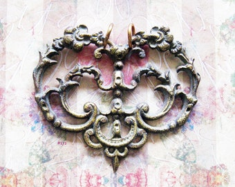 Filigree Heart Escutcheon Pendant Antique Brass Necklace Amulet Refashioned Hardware Jewelry with Floral Embellishment