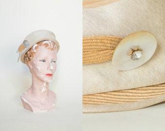 1950s Hat --- Vintage Straw Hat