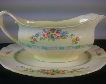 Vintage English J&G Meakin Gravy or Sauce Bowl Pitcher and Drip Plate Stand Jacobean Ware 1930's Cottage Chic
