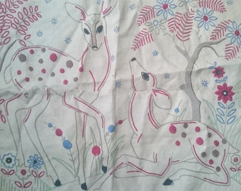 Vintage Deer Embroidery Hand Embroidered Wall Art Panel Tapestry 1930's - 1940's  Original Textile Art Deco Retro