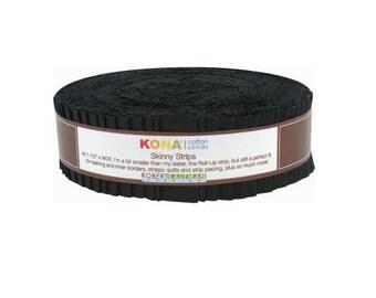 "Robert Kaufman Kona Cotton Solids Black Skinny Strips 1.5"" Precut Cotton Fabric Quilting Roll SS-101-40"