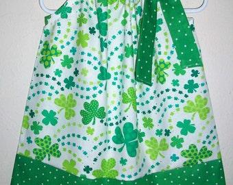 St Patricks Day Pillowcase Dress Girls Dress with Shamrocks Dress with Clovers Irish Dress Green baby dress toddler dress Order by March 2
