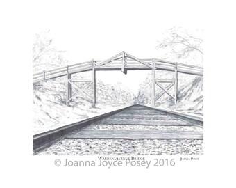 Railroad Bridge Williams Avenue signed limited edition art print UNFRAMED