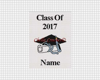 Graduation Class of 2017 Afghan Crochet Pattern Graph Chart