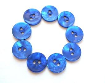 10 Vintage buttons blue plastic 15mm