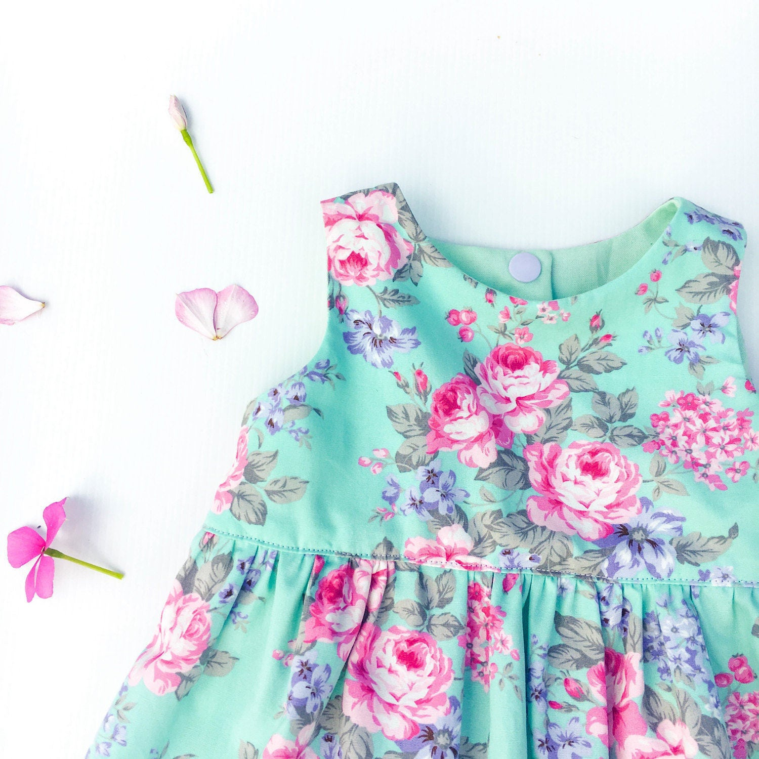 Springtime Turquoise Floral Dress, cotton kids clothing, big sister ...