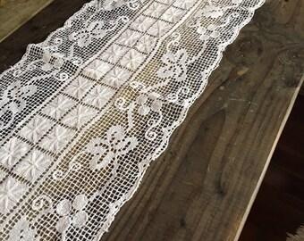 Cotton lace crochet vintage knit woven off white fabric table runner modern scandinavian textile fiber art or scarf
