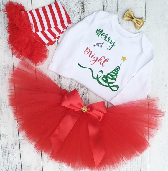 Merry And Bright Baby Girl Christmas Outfit Christmas