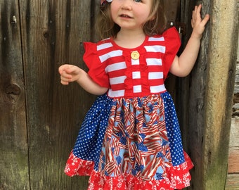 Patriotic flag dress, Fourth of July dress Momi boutique custom dress