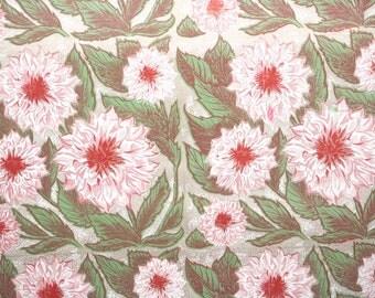 1940s Vintage Wallpaper by the Yard - Vintage Kraft Paper Extra Wide Floral Pink Mums