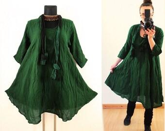 Dark Green FLOATY CRINKLE DRESS with matching Scarf us Plus Size 22 24 26 3X 4X Gypsy Gothic Hippie Lagenlook Linen Spring Summer