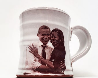 Handmade mug featuring the first couple